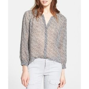 Joie Silk Gray Sheer Animal Print Button T…